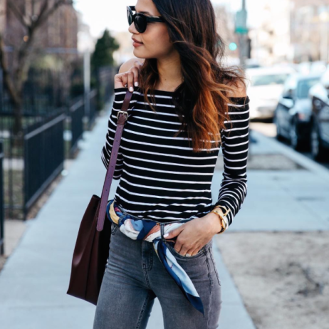 Lauren Johnson (@discodaydream) in the Striped Jacqueline Top