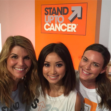 """@loriloughliin with @brendasong and @odetteannable Brenda's Reason: """"My mom, a 3-time breast cancer survivor and my grandfather, who passed from nasopharyngeal cancer."""""""