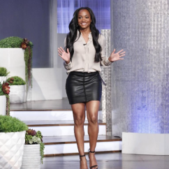 Rachel Lindsay (@therachlindsay) in a Bailey44 eco leather skirt